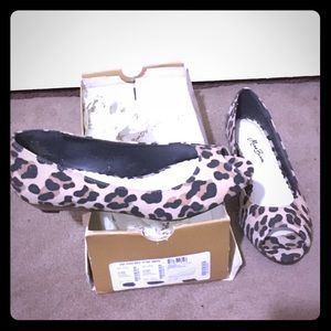 Miss Bisou leopard peep toe wedges